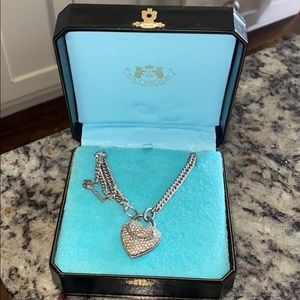 Juicy couture rhinestone lock necklace